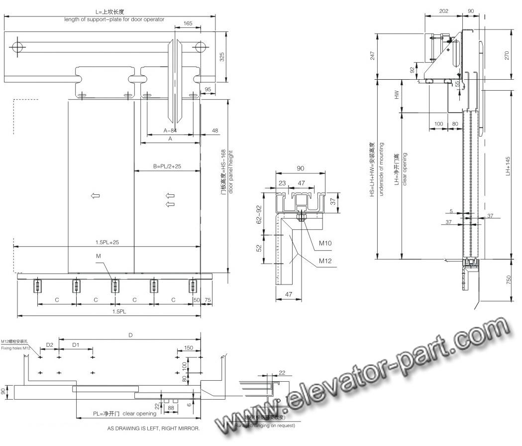 Home elevator dimensions - Sl12 Vvvf Two Panels Side Opening Elevator Door Operator Selcom Type